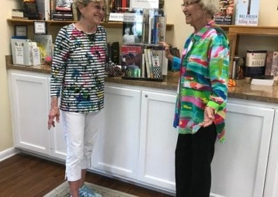Sheila Hainline-Cooley and Jane Miller in the Bookstore