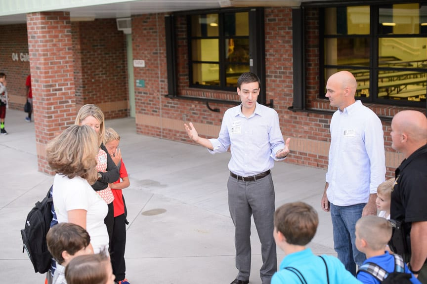 Rev. Matthew Kozlowski leads the annual See You at the Pole at Bessey Creek Elementary in Palm City, FL